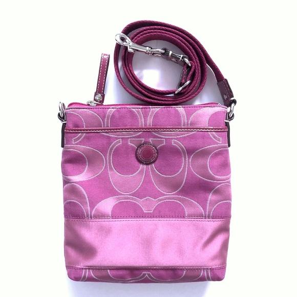Coach  Pink Canvas Crossbody Messenger Bag